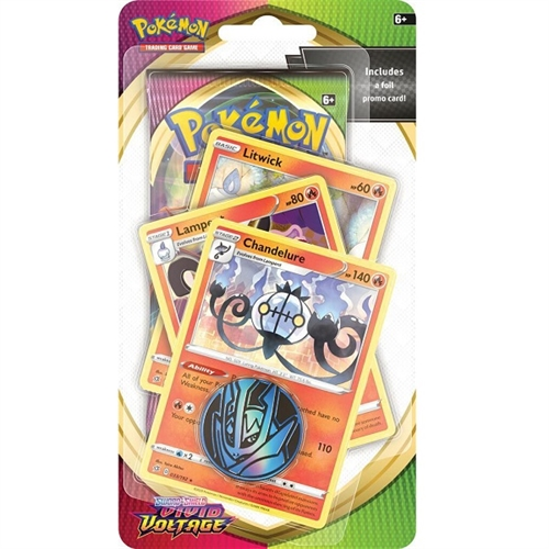Pokemon Vivid Voltage - Premium Checklane Blister Litwick, Lampent og Chandelure - Pokemon kort